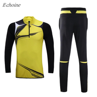 Echoine 2017 New Long Sleeve Soccer Jersey Sets Men Women Plus Size Quick Dry High Quality