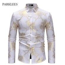 Rose Blume Shirt Männer Gold Druck Bronzing Camisa Sozialen Masculina 2018 Marke Weiß Dünnes Kleid Shirts Hochzeit Nachtclub Chemise