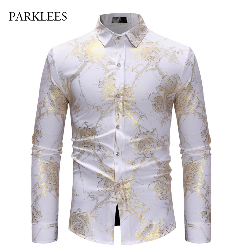 Cool Gold Flower Embroidery Shirt Men Breathable Button Down Mandarin Collar Mens Dress Shirt Wedding Party Dinner Chemise Homme Men's Clothing Tuxedo Shirts