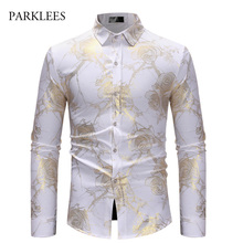 Rose Flower Shirt Men Gold Print Bronzing Camisa Social Masculina 2018  Brand White Slim Dress Shirts e036dafb3a14