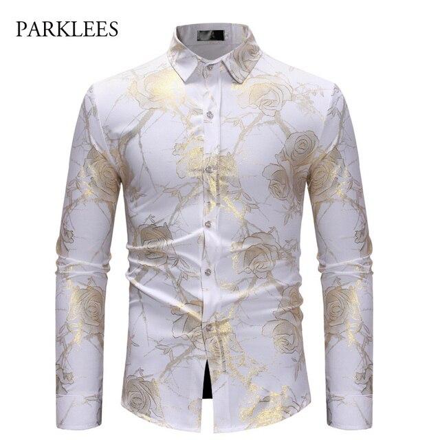 99725765557 Rose Flower Shirt Men Gold Print Bronzing Camisa Social Masculina 2018  Brand White Slim Dress Shirts Wedding Nightclub Chemise