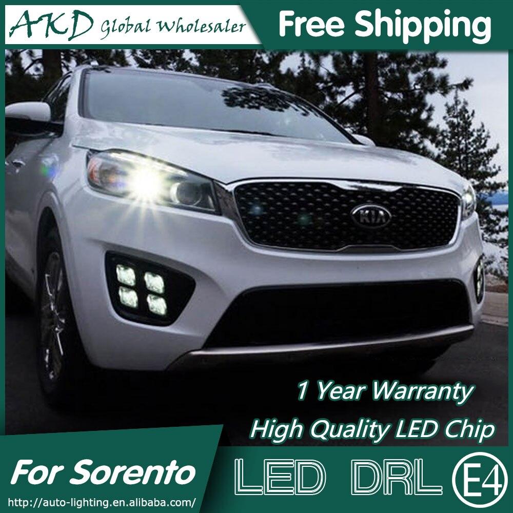 купить  AKD Car Styling for Kia Sorento DRL 2014-2015 New Sorento LED DRL LED Running Light Fog Light Parking Accessories  недорого