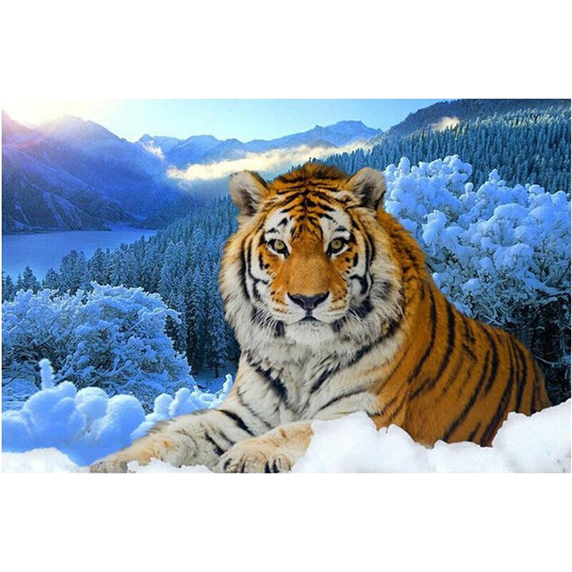Diamante Bordado nieve Tiger 3D DIY mazayka animal patrón perla ...
