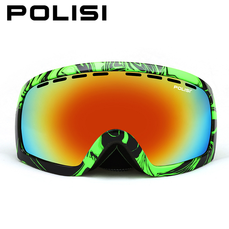 POLISI Men Women Snowboard Snow Goggles Polarized Large Spheral Professional Double Layer Anti-Fog Lens Skiing Glasses Eyewear polisi brand new designed anti fog cycling glasses sports eyewear polarized glasses bicycle goggles bike sunglasses 5 lenses