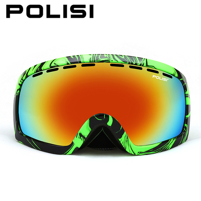 745f218f964b POLISI Men Women Snowboard Snow Goggles Polarized Large Spheral  Professional Double Layer Anti-Fog Lens Skiing Glasses Eyewear