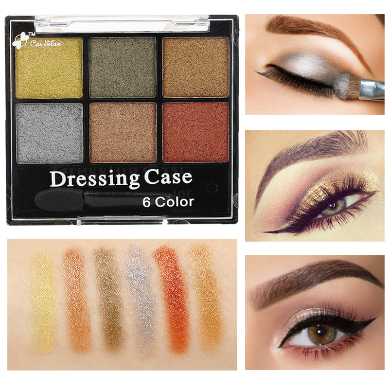 6 Colors Brand Eye Shadow Make Up Palette Eyes Glitter Powder Waterproof Nude Eyeshadow Pigment Makeup Cosmetics
