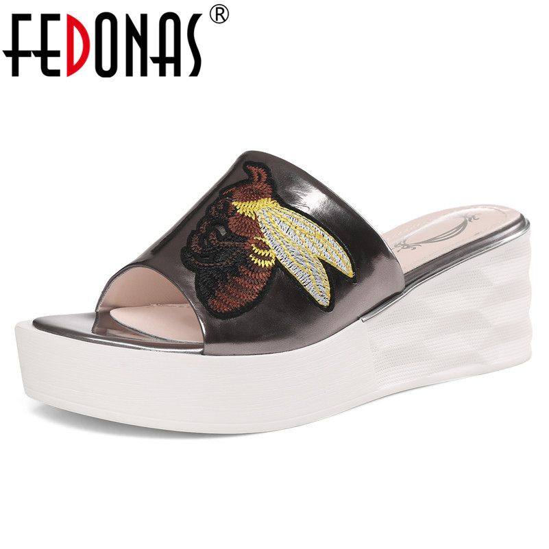 FEDONAS Classic Platforms Women Sandals 2019 Fashion Elegant Genuine Leather Summer Casual Party Prom Shoes Woman