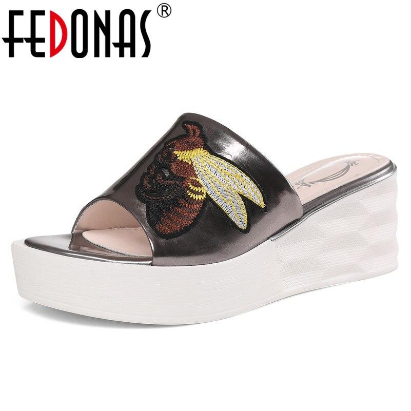FEDONAS sandalias clásicas para mujer 2019 moda elegante cuero genuino verano Casual fiesta zapatos de baile de graduación mujer tacones altos-in Sandalias de mujer from zapatos    1