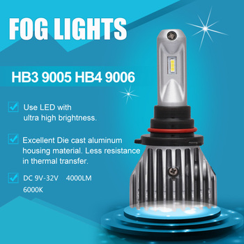 HB3 9005 HB4 9006 Universal Fog Lamps Car LED 6SMD No Fan Aliminum Die-cast Fog Light High Power 50W 8000LM 6000K White DC9V 36V
