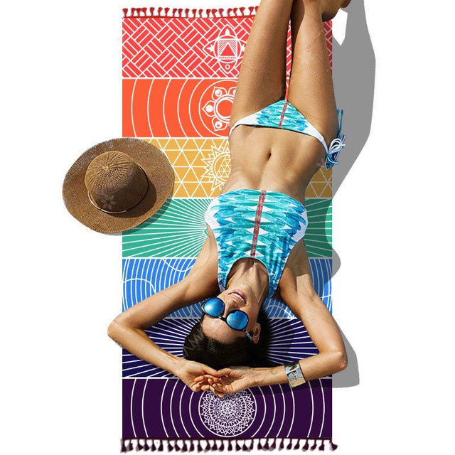 Dropship! Single Rainbow Chakra Tapestry Towel Carpet Mandala Boho Stripes Travel Yoga Mat Outdoor Mats 150x70cm/100x45cm 3
