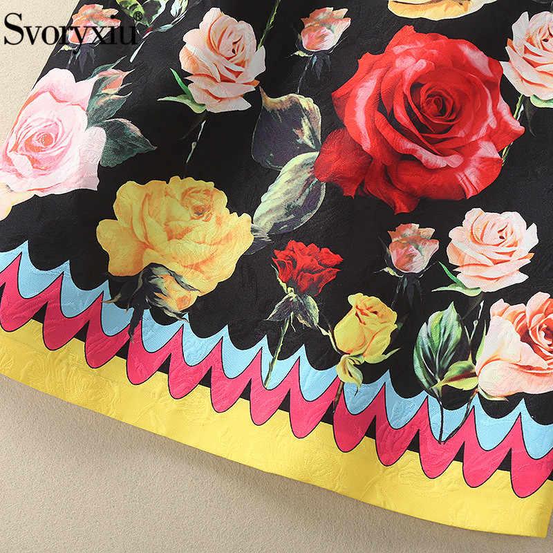 Svoryxiu, дизайнерское летнее жаккардовое мини платье-футляр, женские роскошные винтажные Вечерние Платья с цветочным принтом и бриллиантами Vestdios