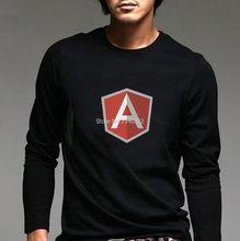 Camiseta de mangas compridas do google angularjs dos trajes do caráter masculino outono primavera fãs angular js camisa de manga completa t