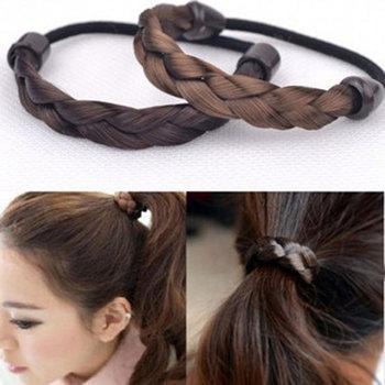 Fashion Women Wig Elastic Hair Bands For Girls Black Brown Rope Scrunchie Ponytail Holder Head Wear Accessories