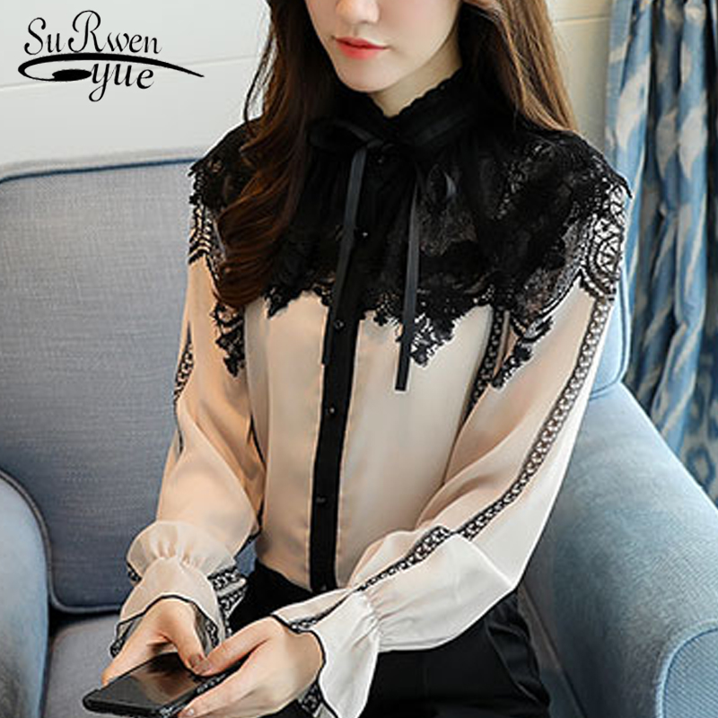 Fashion 2019 Women Blouse Shirt Long Sleeves Beige Chiffon Patchwork Women's Clothing Office Lady Lace Women Tops Blusas D253 40