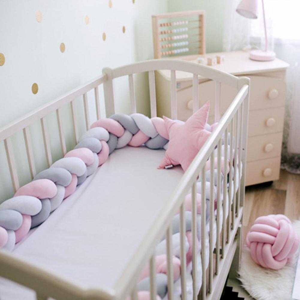 Colorful Newborn Baby Crib Bumper Cushion Knotted Braided Plush Nursery Cradle Decor
