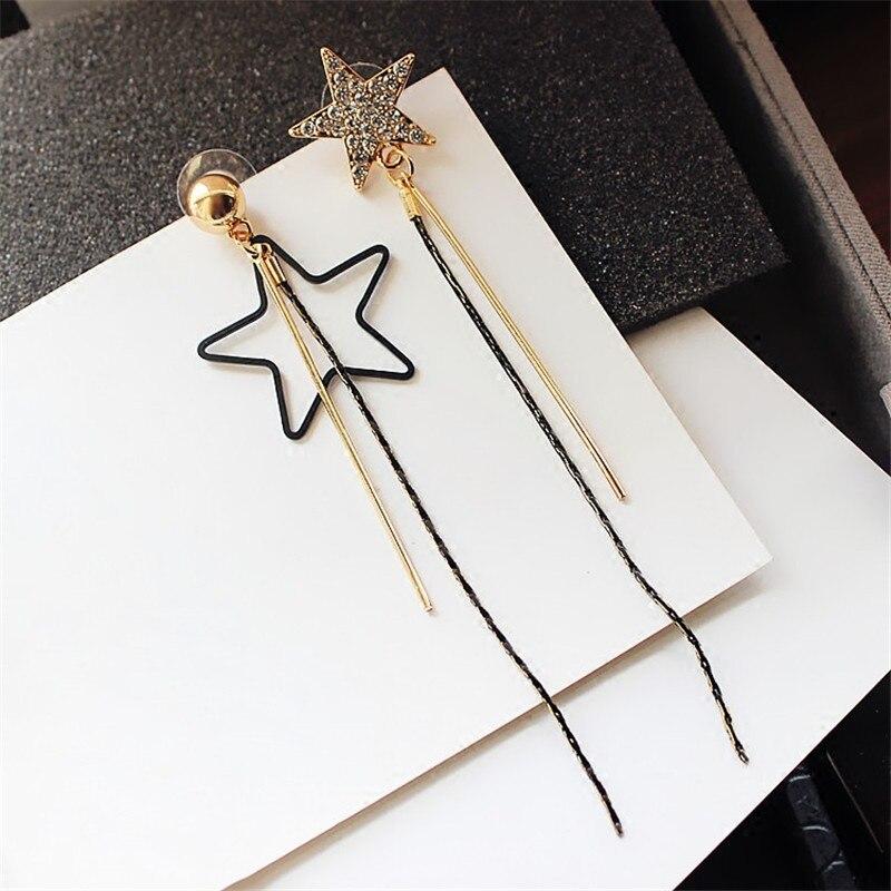 H:HYDE Fashion Five-pointed Star Asymmetric Earrings Long Tassel Drop Earrings For Women Personality Jewelry Accessory