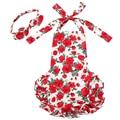 Ano novo Bebê Crianças Meninas Sem Mangas Plissado Floral Vermelho Chevron Romper Playsuit Vestido Bow Headband Helter Sunsuit Set para 0-24 M