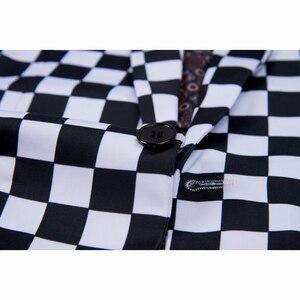 Image 5 - SHENRUN Fashion Suit Men Black White Plaid Print 2 Pieces Set Latest Coat Pant Designs Wedding  Stage Singer Slim Fit Costume