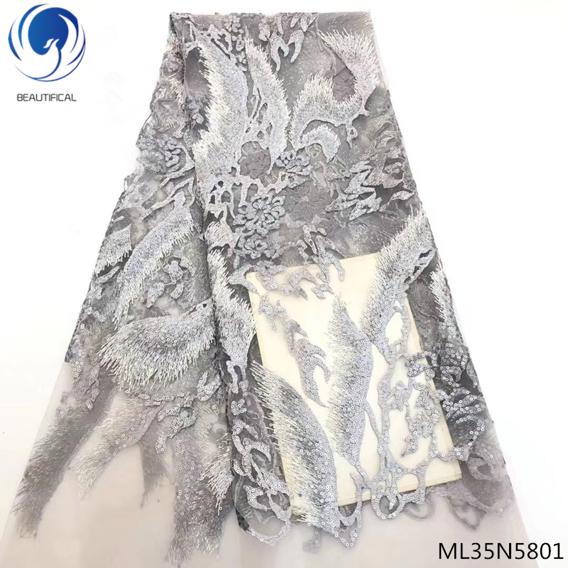 BEAUTIFICAL african lace fabrics 2019 high quality lace fabric french african sequin lace fabric 5yards lot ML35N58 in Lace from Home Garden