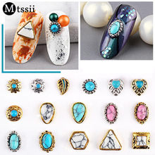 Mtssii Rhinestones Nail Art Decoration Stones with Metal Edge Nail Studs 3D Gems Jewelry Supplies(China)