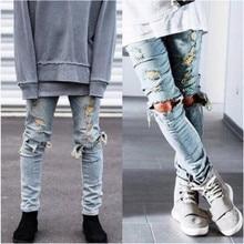 Top Version Männer Designer Zerstört Zerrissene Jeans Herren Hip Hop reißverschluss Biker Jeans Justin Bieber Jeans 2 Farben Freies verschiffen
