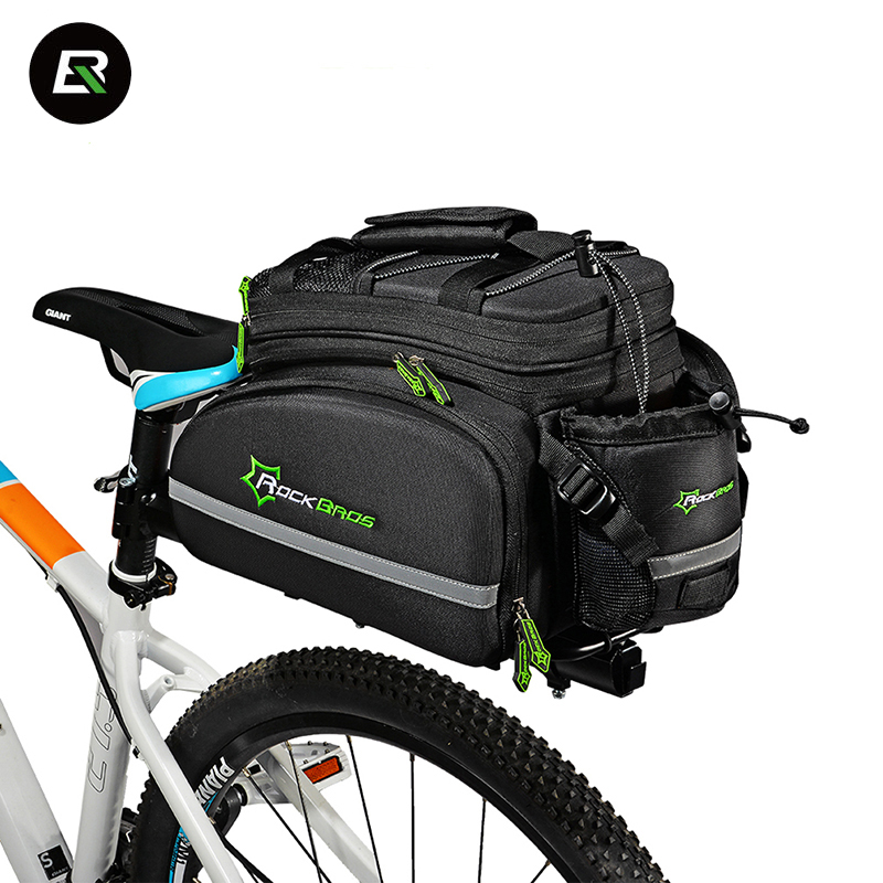 Rockbros MTB Road Bike Bag Waterproof Multfunctional Bicycle Rear Seat Bag Saddle Bags Large Capacity Cycling Rack Trunk Bag rockbros large capacity bicycle camera bag rainproof cycling mtb mountain road bike rear seat travel rack bag bag accessories