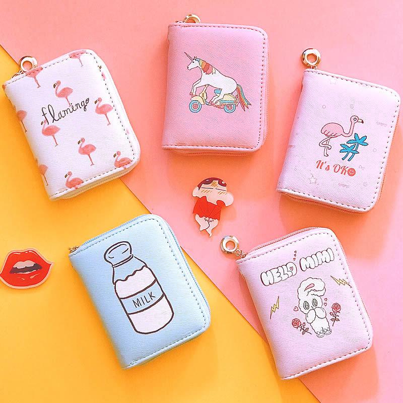 Fashion Unicorn Flamingo Short Wallet Purse for Women Female Clutch Purse Card Holder Coin Purse Wallet for Ladies flamingo print coin purse