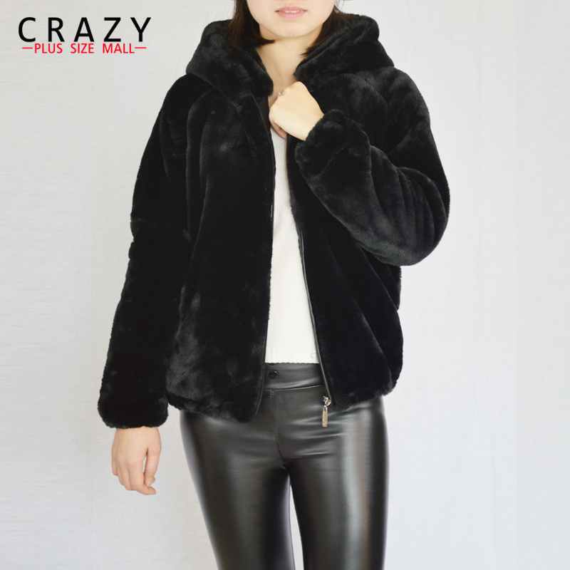 New 2018 Plus Size S - 6XL Spring Warm Black White Pink Faux Fur Coats With a Hood Fashion Large Size Fake Fur Coats For Women alfani new pink black women s size small s ethnic swirl printed blouse $29 104 page 5