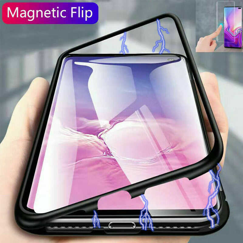 Magnetic Adsorption Metal Case For Samsung Galaxy A50 A40 A70 A60 A10 M10 M20 M30 A20 A30 J4 J6 A7 A9 2018 Phone Cover Coque