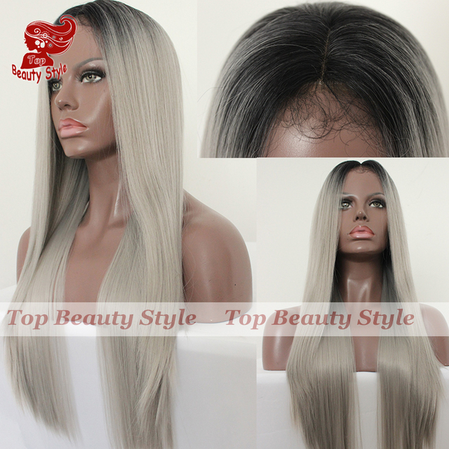 Ombre Wig Cheap Hair Black Grey Wig Glueless With Baby Hair Natural Silk Straight Hair Synthetic Lace Front Wigs for Women