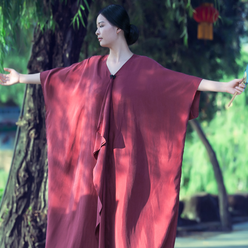 2017 female summer red pure copper urlarge ammonia silk manual button zen leisure full dress