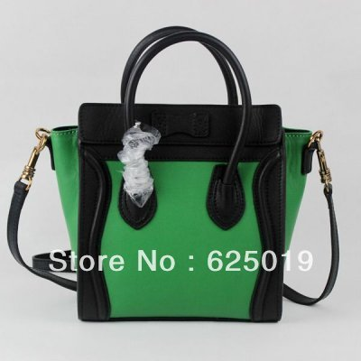 free shipping discount Clenie brand Boston Grass-green Black Smile Leather Bags for sale Womens Classic Bags