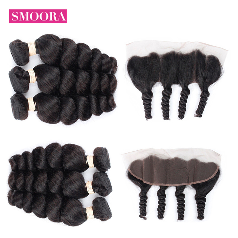 Smoora Brazilian Hair Loose Wave 3 Bundle Hair With Closure Ear To Ear Lace Frontal Closure 13x4 Non Remy Human Hair Bundle weft
