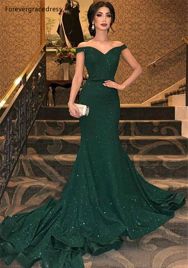 2019 Sparkle Sequined Dark Green Reflective Prom Evening Dresses Sexy Mermaid Off Shoulders Long Vestidos de fiesta BC0792  119 (4)
