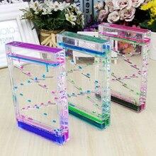 Квадратный слайд плавающий микс цветные масляные песочные часы Bubbler Motion таймер сенсорная игрушка Домашний Декор-синий+ розовый
