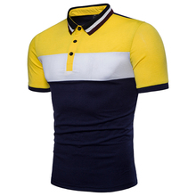 209 foreign trade summer dress new three-color splicing Luokou collar men's short-sleeved casual large size T-shirt male