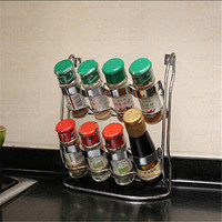 Material de cozinha de vidro garrafa tempero conjunto molho pote latas seladas caixa de tempero garrafa prateleira tempero rack de Armazenamento De aço Inoxidável