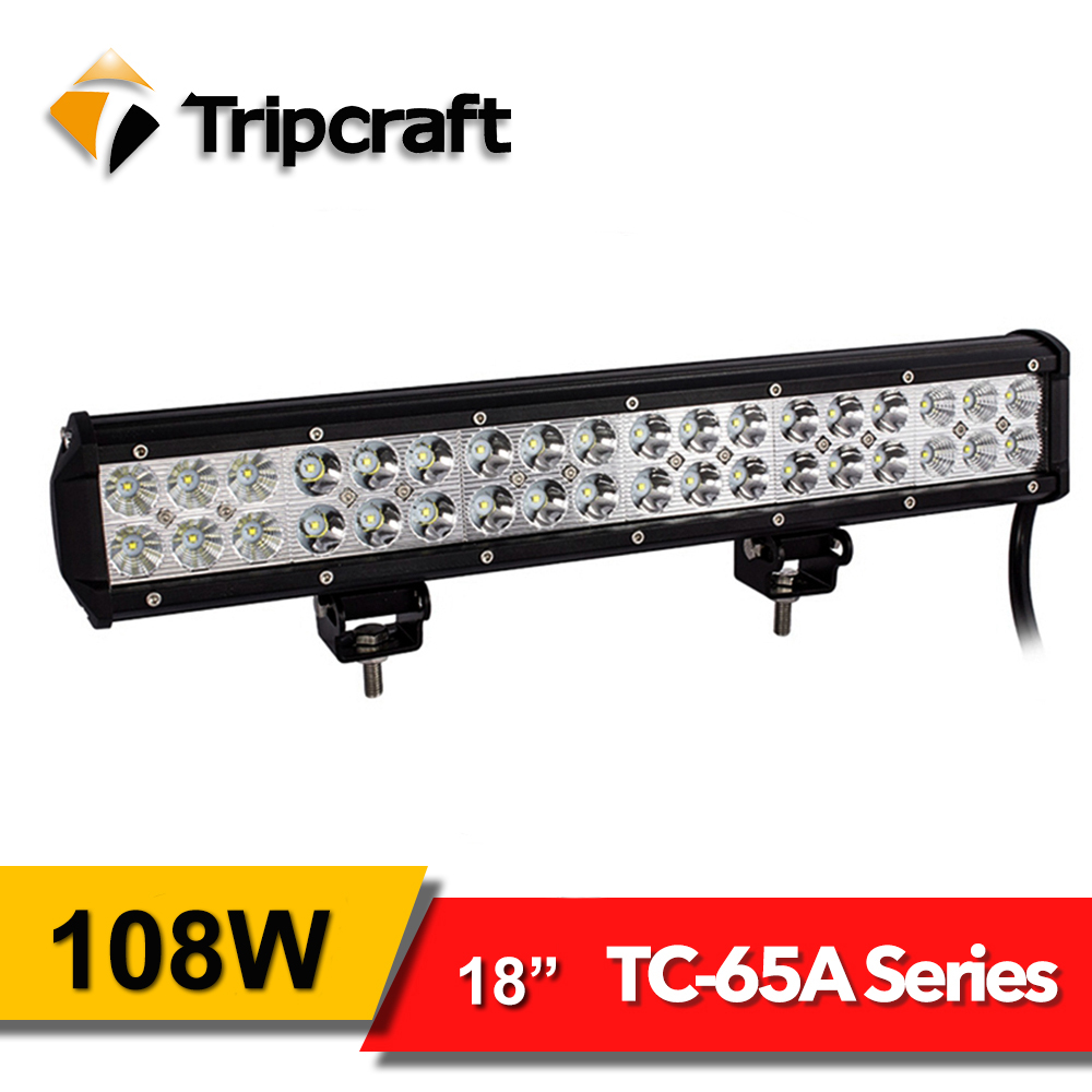 Tripcraft 18&#8243; 108W <font><b>LED</b></font> Work Light Bar spot Beam for Off road Truck SUV ATV 4WD auto 4&#215;4 <font><b>rampe</b></font> 12V 24V 6500K car driving fog lamp