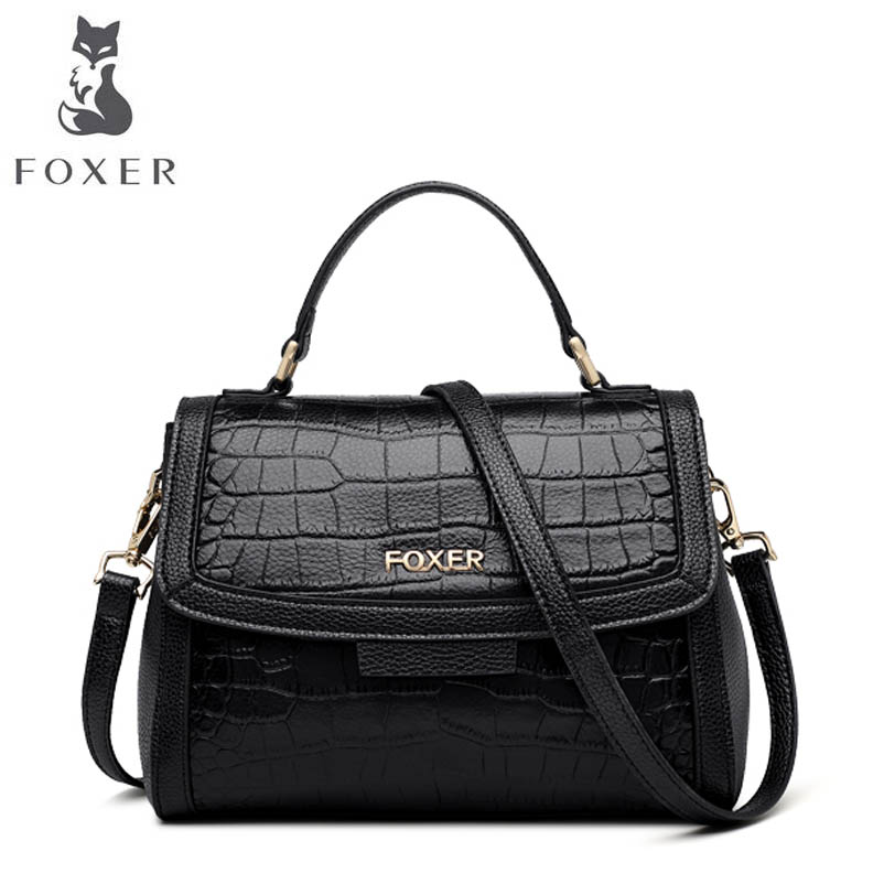 FOXER 2018 New Women Genuine Leather bag designer famous brand leather women Cowhide bag fashion leather shoulder bag