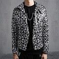 Мужская мода Тонкий PU Кожаная Куртка Отложным Воротником пальто Куртки Мотоциклетная Куртка Мужчины Punk Rock Дизайн Stage Costume