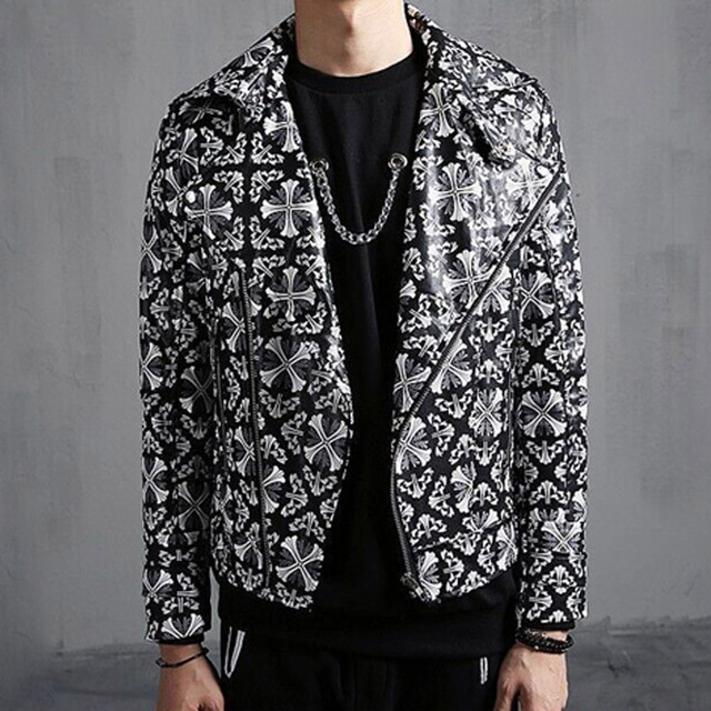 Fashion Men's Slim PU Leather Jacket Turndown Collar Jacket coat Motorcycle Jacket Men Punk Rock Design Stage Costume