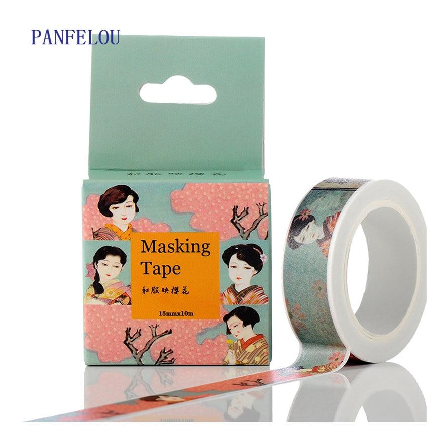 PANFELOU 1.5CMx10M The kimono cartoon Stickers border masking adhesive line paper washi tape DIY Scrapbooking Hand account