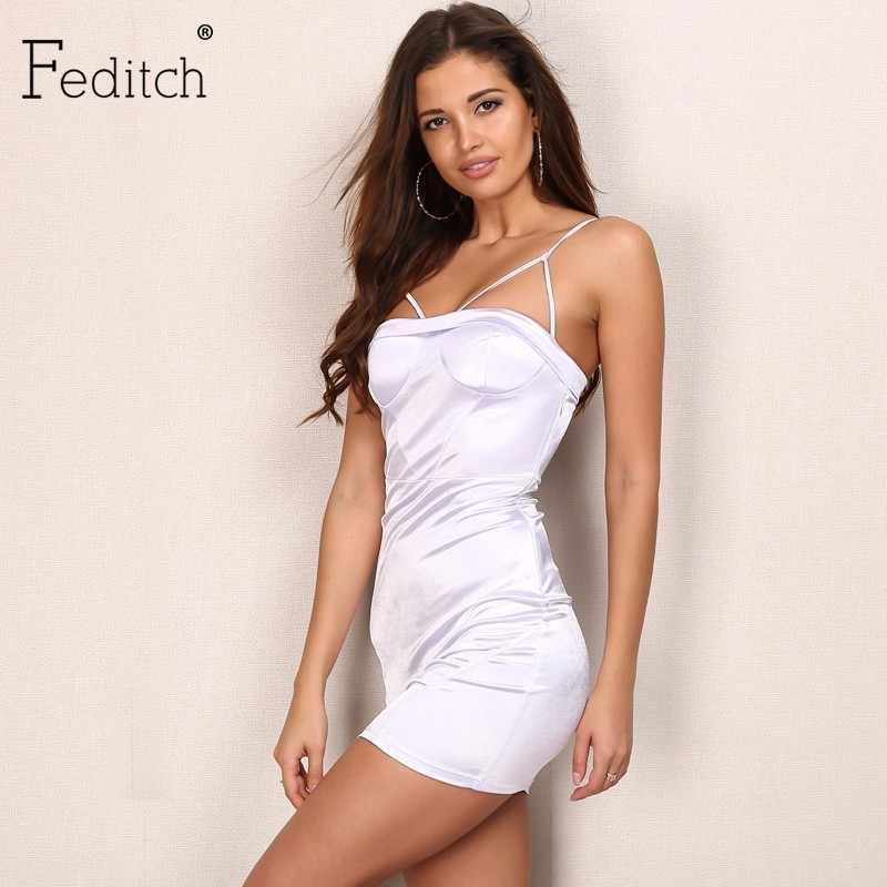 Feditch New Solid Women Dress Sexy Strap Dresses Elegant Women Bodycon  Dresses 2017 Fashion Evening Party 9870c62b882a