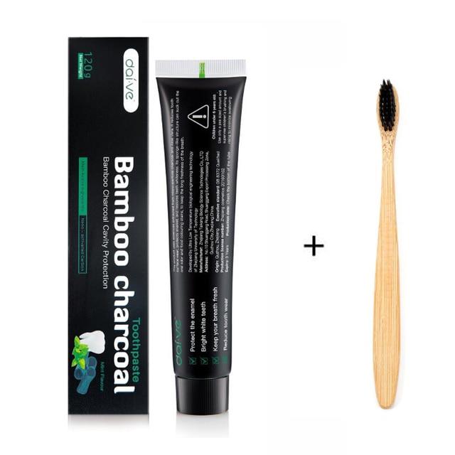 Pasta de dientes Natural blanqueadora pasta de dientes de carbón de bambú juego de pasta de dientes de coco de carbón con cepillo de dientes