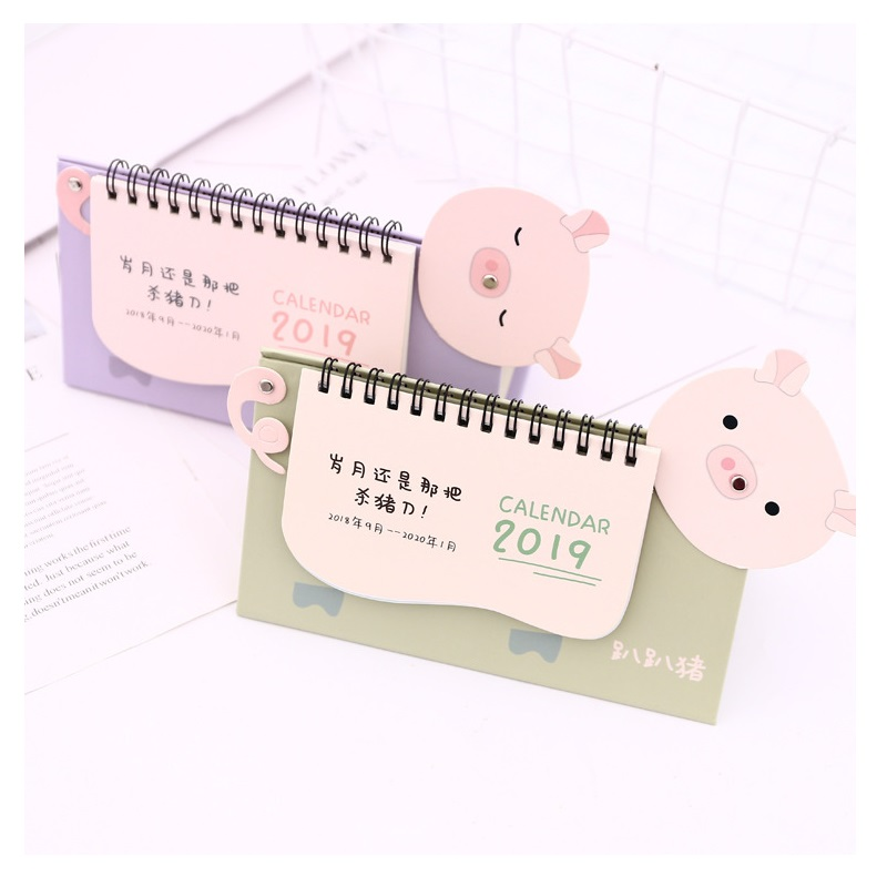 Alert 2019 Cute Sleeping Pig Desk Calendar Diy Cartoon Table Calendars Daily Schedule Planner 2018.09~2019.12 Latest Technology Office & School Supplies