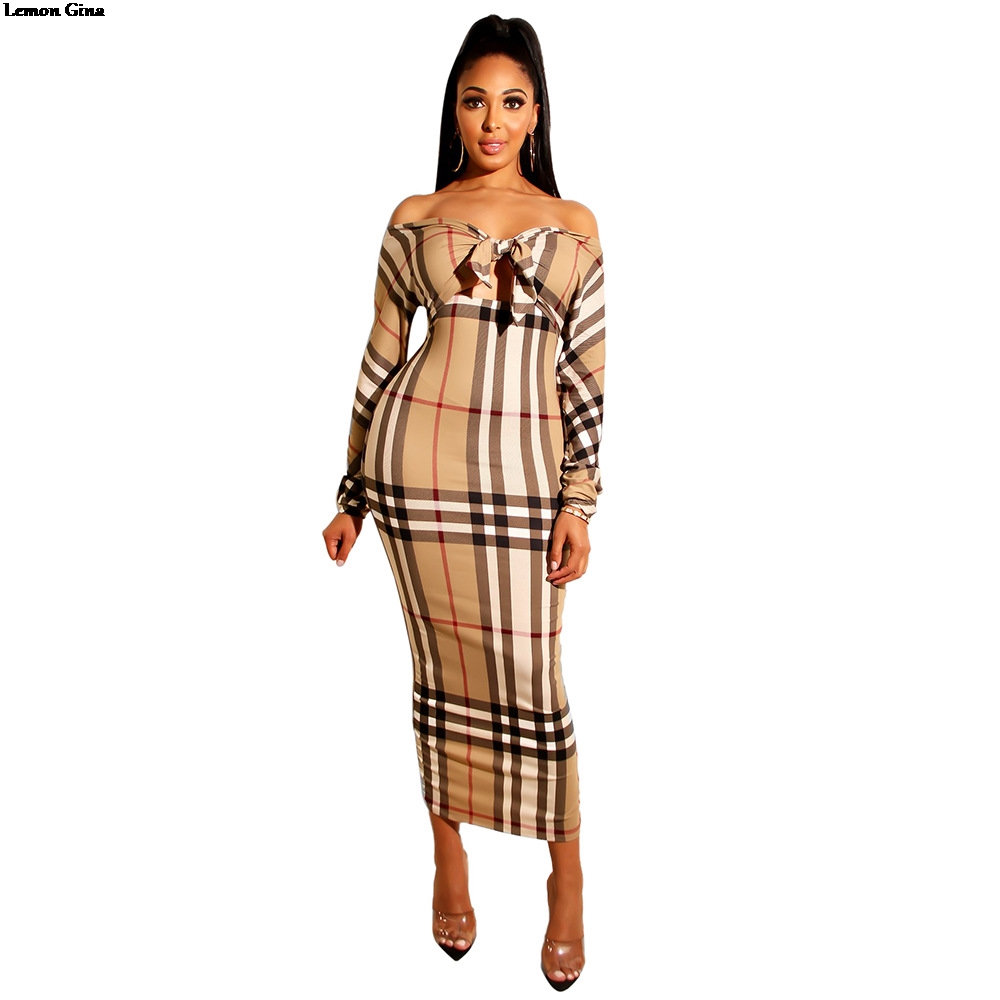 55212612f7c Lemon Gina 2019 Women Plaid Bow Tie Up Off Shoulder Long Sleeve Cut ...