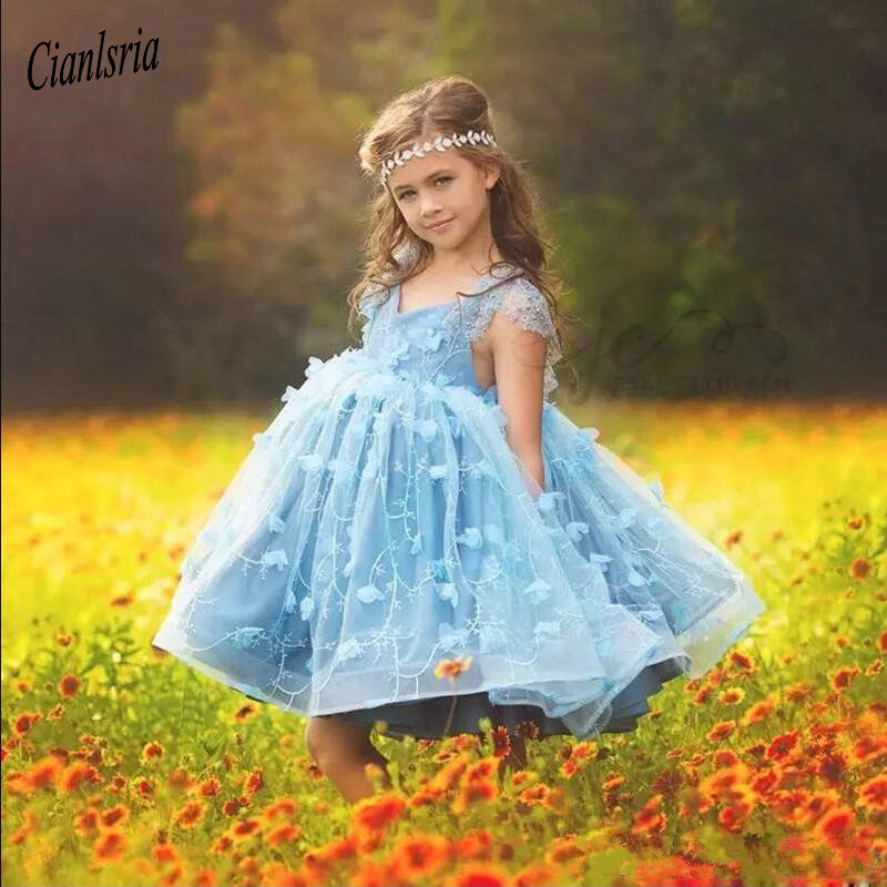 Sexy Knee Length Princess   Dress   With Lace Appliques Beading V-Neck Customized   Flower     Girl     Dress   For Special Occasion Vestidos
