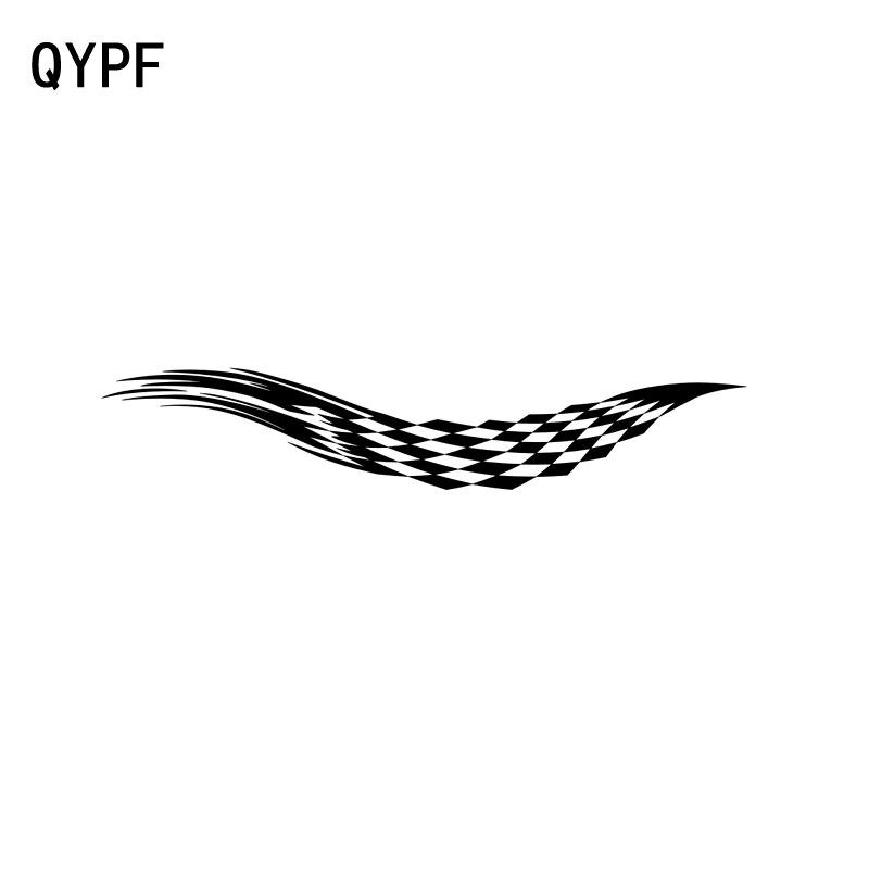 QYPF 25CM*4.8CM Fashion Car Flying Checkered Flag Sticker Vinyl Car-styling Decal Black/Silver C15-0480