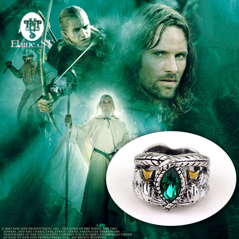 The Lord Of Antique Silver ring Crystal Aragorn Finger Rings Movie Style Gothic Punk Men Cocktail Ring Gifts