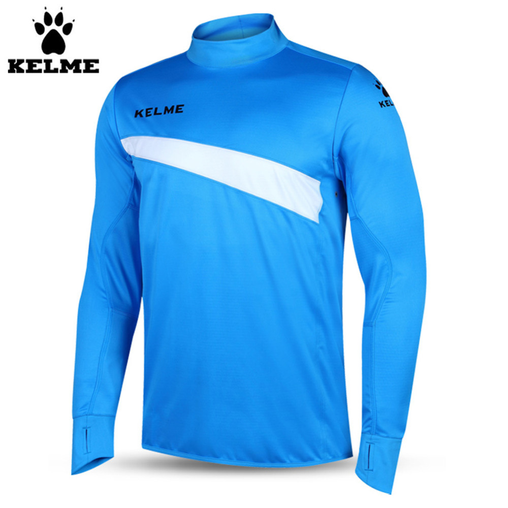 Kelme K15Z304 Men Soccer Jerseys Polyester Stand Collar Sharkskin Training Long-sleeved Pullover Blue White цена 2017